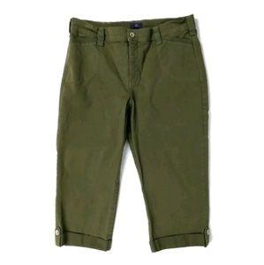 NYDJ olive green crop capri jeans pants